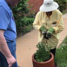 A Sedgwick County Master Gardener working with an Adult Day Services client to plant flowers in our garden.