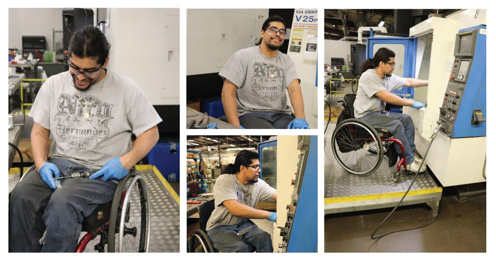 Photo Collage of Job Placement Client working at Center Industries