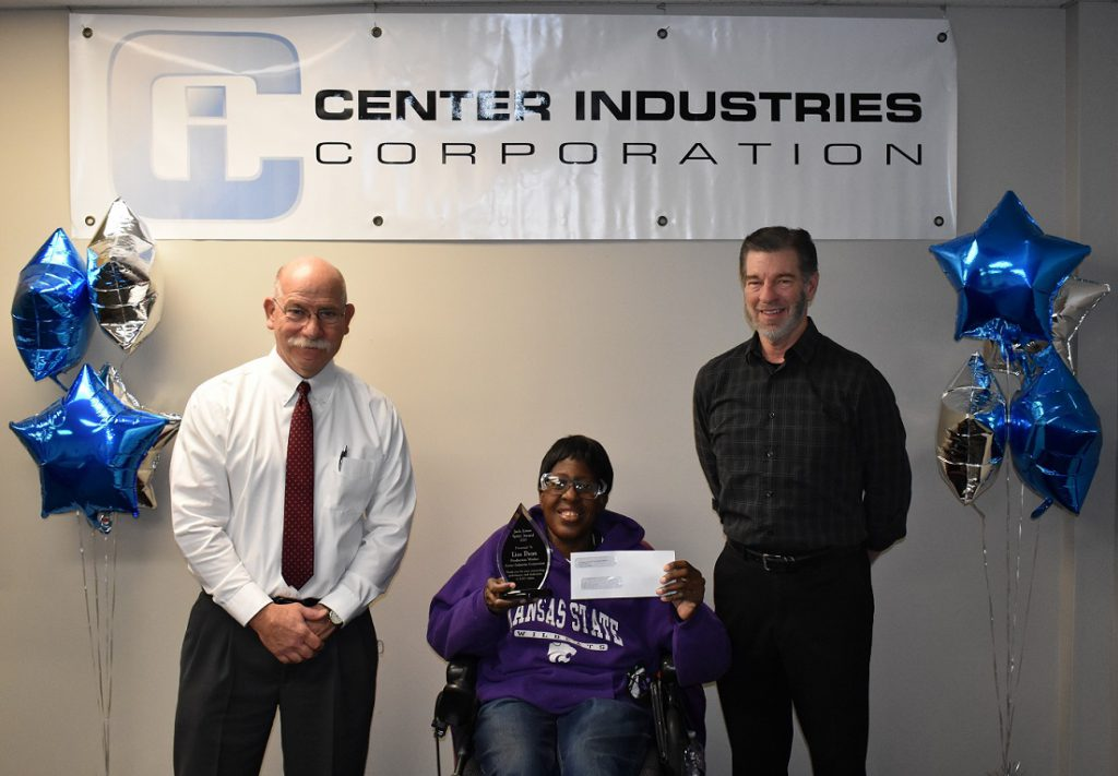 From left to right: Patrick T. Jonas, CPRF President & CEO, Lisa Dean, Center Industries Corporation Employee, and Joey Jackson, Center Industries President